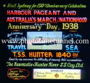 Magic lantern slide advertising trip to see Sydney Harbour Pageant 1938