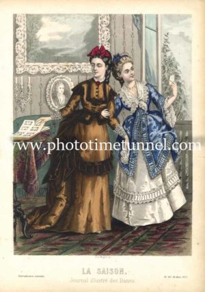Fashionable ladies in 1872. Illustration from journal, La Saison.