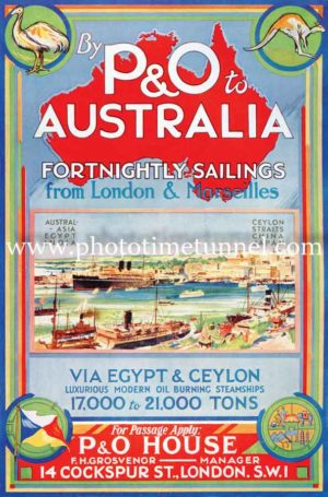 By P&O to Australia, vintage travel poster