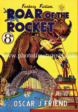 Roar of the Rocket, monster crushing Sydney Harbour Bridge. Vintage cover art.
