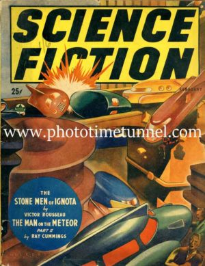 Futuristic city scene on vintage Canadian Science Fiction magazine