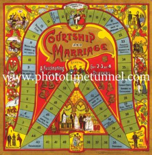 Courtship and marriage; vintage Victorian-era board game.