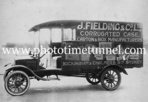 Vintage truck, J. Fielding and Co Ltd, carton and box manufacturer, Sydney