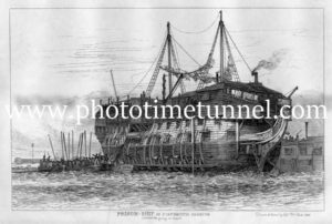 Convicts going on board prison ship HMS York in Portsmouth Harbour. c1815