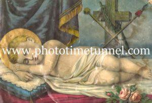 Sleeping child religious illustration.
