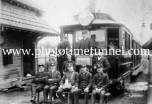 Crew on a Maitland steam tram