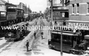 Steam trams at the corner of Church and High Streets,  Maitland, c1913