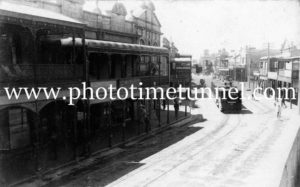Steam tram in High Street Maitland