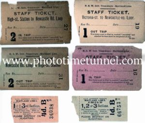 Maitland tramway tickets.