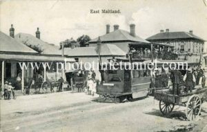 Postcard view of opening of Maitland steam tramway, February 8, 1909