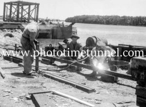 Construction of the Hexham Bridge over the Hunter River near Newcastle, NSW, January 22, 1947. (4)
