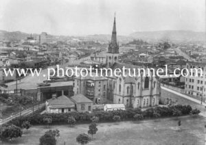 View of St Andrews Church, Newcastle, NSW, and Cooks Hill, circa 1930s