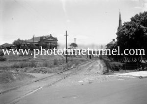 Coal rail line between St Andrews Church and Baptist Tabernacle Newcastle, circa 1940s
