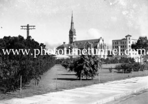 St Andrews Church and Salvation Army hostel seen across Civic Park, Newcastle, NSW, circa 1930s