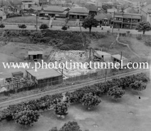 Crane and stone yard in Civic Park, below Laman Street, Newcastle, NSW, circa 1930s