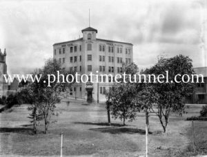 Salvation Army mens' hostel, Newcastle, NSW, seen across Civic Park, May 1934