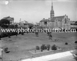 St Andrews Church and Baptist Tabernacle seen across Civic Park, Newcastle, March 1934.