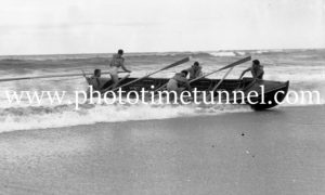 Surfboat crew at Newcastle, NSW, October 3, 1937