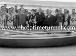 Christening a new surfboat at Newcastle, NSW, October 3, 1937