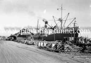 Ship City of Canberra at Lee Wharf, Newcastle, NSW, 1946