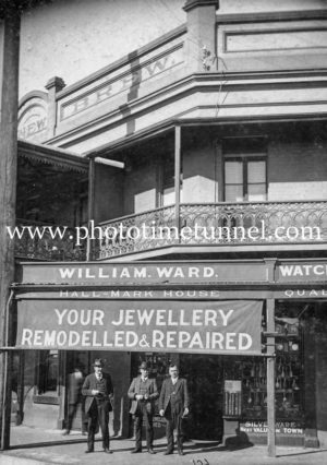 William Ward's jeweller's store at 315 Hunter Street, Newcastle, NSW, circa 1920