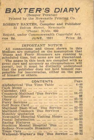 Baxter's Diary #5, 1931: Newcastle and Lower Hunter NSW bus timetables and other information. PDF download