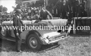 Prince Henry, Duke of Gloucester, entering a car at Tamworth Showground, NSW, 1934