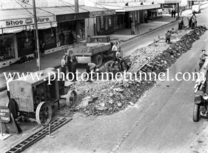 Extension of tramway through Adamstown, NSW, circa 1930s.