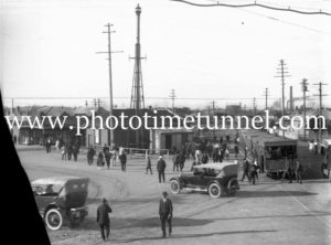 Steam tram and vintage cars at Broadmeadow Junction (Nineways) circa 1910