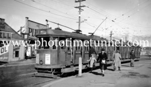People alighting from a tram at Nineways Broadmeadow, NSW, May 30, 1948.