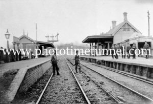 Adamstown Railway Station, NSW, with Mount Pleasant homestead in the background, circa 1900.