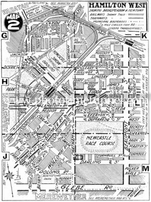 Vintage street directory map of Broadmeadow, Newcastle, NSW, circa 1930s.