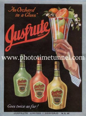 Jusfrute fruit juice, Gosford, NSW, vintage advertisement, circa 1930s