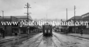 Tram in Brunker Road, Adamstown, NSW, April 4, 1948.