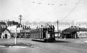 Tram at Nineways Broadmeadow, NSW, April 5, 1948.
