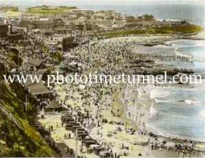 Hand-coloured view of Newcastle Beach, NSW, circa 1930s