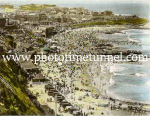 Hand-coloured view of Newcastle Beach, NSW, circa 1930s