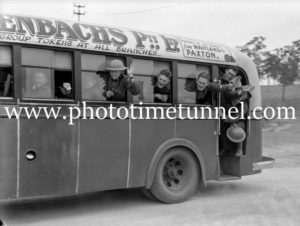Soldiers in a bus, Maitland district, NSW, late 1930s