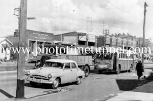 Buses in Belford Street, Broadmeadow, NSW, circa mid-1960s.