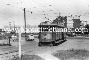 Tram opposite the Broadway Hotel on Lambton Road, Broadmeadow, NSW, February 1950.