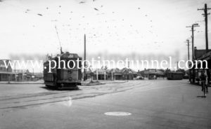 Tram at Nineways Broadmeadow, NSW, June 26, 1948.