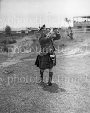 Comedian Harry Lauder playing golf at Newcastle, NSW, January 4, 1937. (1)