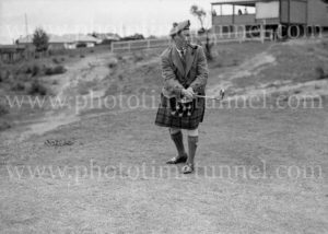 Comedian Harry Lauder playing golf at Newcastle, NSW, January 4, 1937. (2)