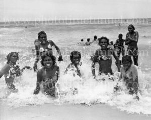 Aboriginal girls from Darwin in the surf at Newcastle, NSW, December 1970. (1)