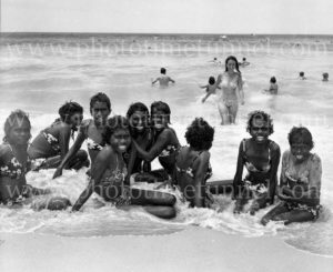 Aboriginal girls from Darwin in the surf at Newcastle, NSW, December 1970.
