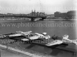 Junkers Hydroplanes on the Danube River, Budapest, 1920s.
