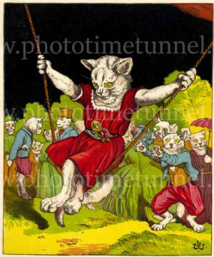 Cat on a swing. Vintage lithograph artwork by Harrison William Weir, circa 1870.