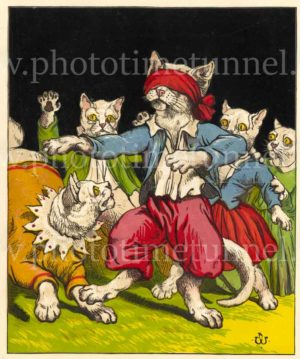 Cats playing blind man's bluff. Vintage lithograph artwork by Harrison William Weir, circa 1870.