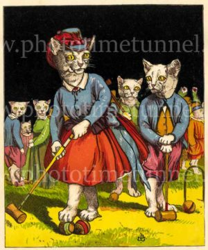 Cats playing croquet. Vintage lithograph artwork by Harrison William Weir, circa 1870.