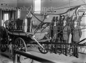 Vintage fire engine at Grafton Fire Station, NSW, circa 1910.